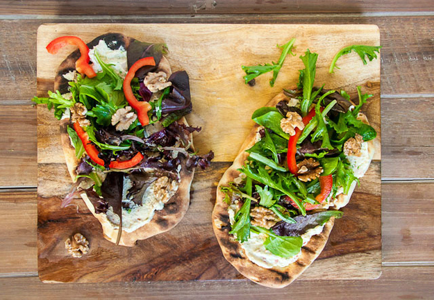 Friday Lunch: Flatbreads with Scallion & Red Pepper Spread