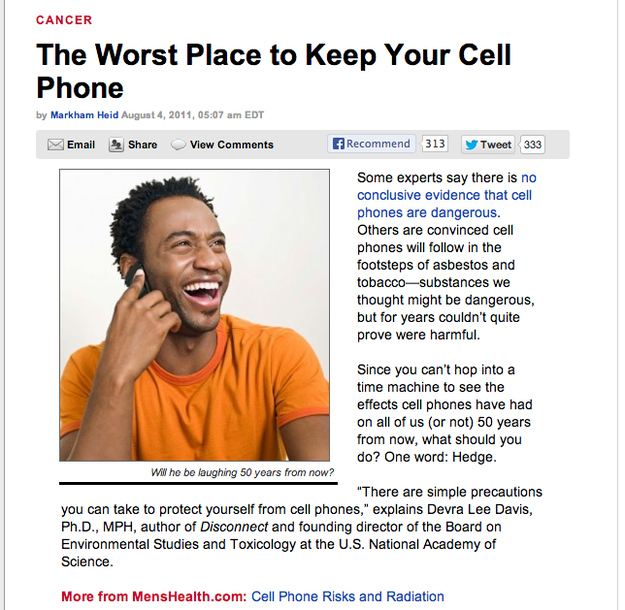 Men's Health says that a phone in your pocket could be REALLY bad for you.