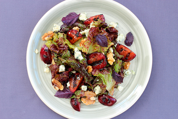Grilled Plum Salad with Purple Basil, Blue Cheese, and Balsamic Vinaigrette