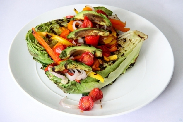 Grilled Romaine and Pepper Salad