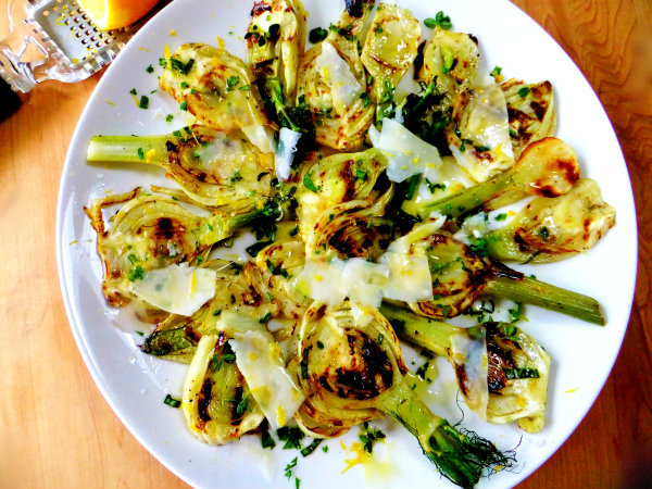 Grilled Fennel Salad with Fresh Herbs and Parmesan