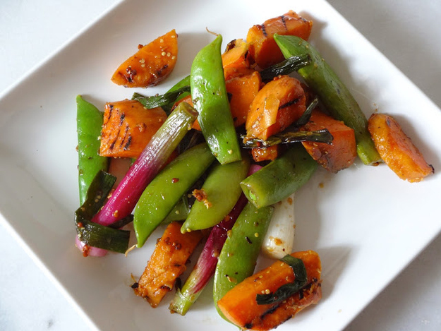 Grilled Sweet Potato and Snap Pea Salad