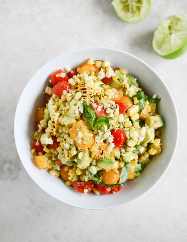 Easy Grilled Corn Tomato Salad with Blue Cheese and Basil Ribbons