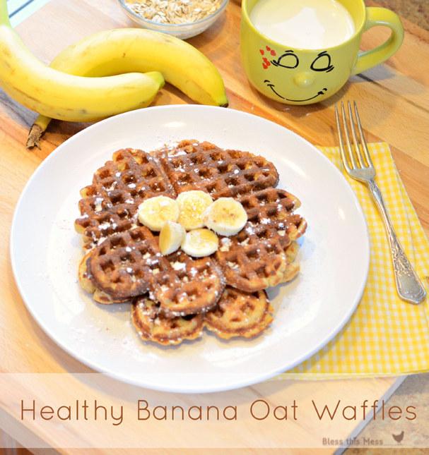 Healthy Banana Oat Waffles