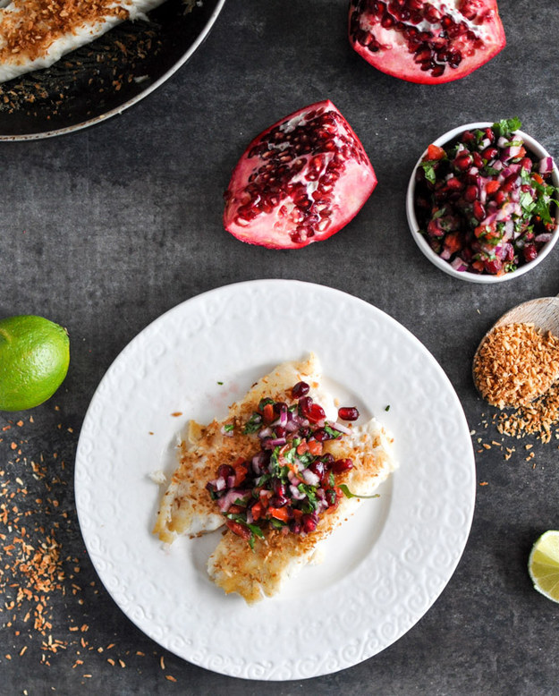Toasted Coconut Tilapia with Pomegranate Salsa
